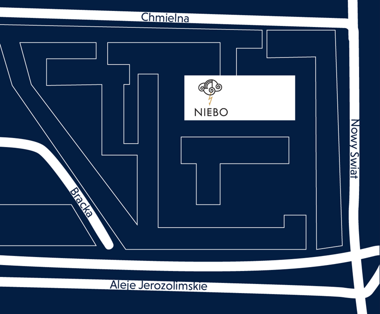 mapka dojazdu 15lecie MSBiS w NIEBIE